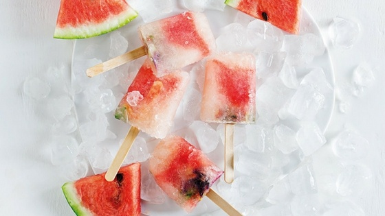 Watermelon and Ginger Ice Lollies