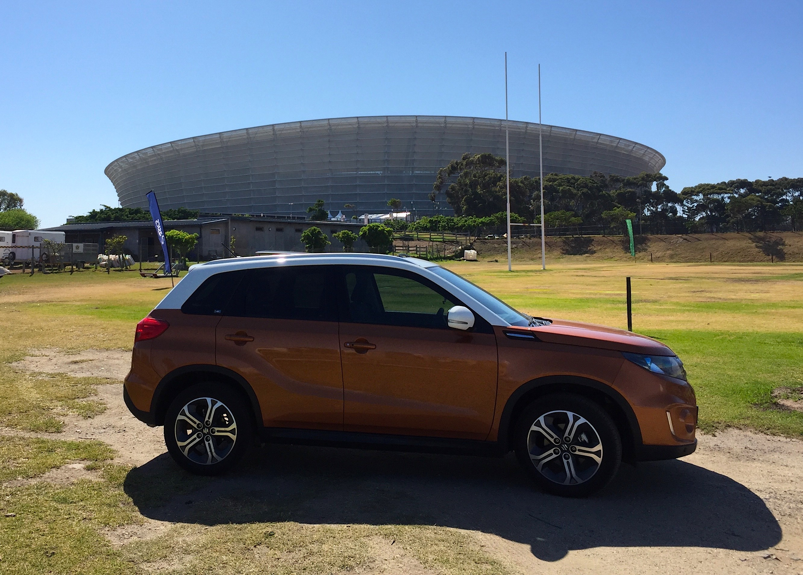 Suzuki Viatara outside Greenpoint Stadium
